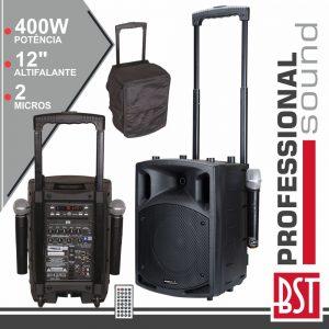 "Coluna Amplificada 12"" 400Wmáx 2 Mic Uhf Cd/USB/BT Bolsa BST - (NOMAD12UHF)"
