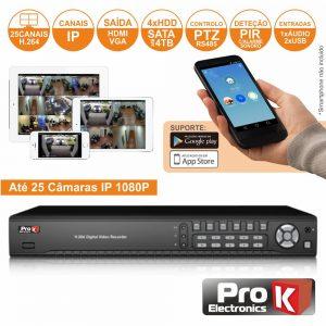 Vídeo-Gravador Digital Ip 25 Canais H264 Ethernet PROK - (NVR25HK)