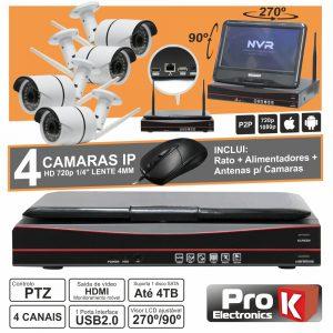 Vídeo-Gravador Digital Ip 4 Canais Wireless H264 C/Lcd PROK - (NVRPACK04BW)