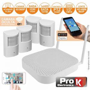 Vídeo-Gravador Digital 4 Canais Wifi H264 PROK - (NVRPACK04PIR)