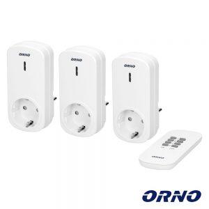 Conjunto 3 Tomadas Elétricas C/ Comando S/ Fios ORNO - (OR-GB-417(GS))