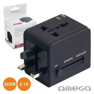 Ficha Adaptadora Viagem Universal 4em1 2 USB Preto OMEGA - (OTRA3B)