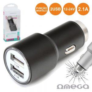 Adaptador Ficha Isqueiro 12V/24V / 2 USB 5v 2.1A Preto OMEGA - (OUCC2MB)