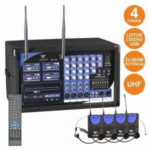 Central 4 Microfones S/ Fios Uhf + Leitor Cd/Dvd Comando - (PA180-4H)