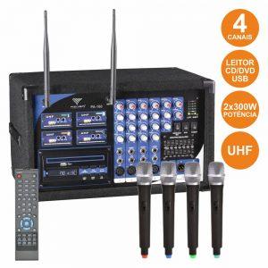 Central 4 Microfones S/ Fios Uhf + Leitor Cd/Dvd Comando - (PA180-4M)