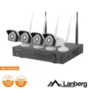 Pack Vigilância 4 Câmaras IP66 NVR WIFI c/Acessórios LANBERG - (ICS-0404-0020)