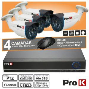 Pack De Vigilância 4 Câmaras/Dvr/Alimentador/Cabos PROK - (DVRPACK04AA)