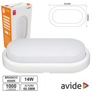 Painel LED Oval Aplique 14W 215mm 4000k 1000lm Ip54 AVIDE - (ABBHL-O-14W-NW)