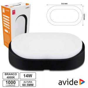 Painel LED Oval Aplique 14W 215mm 4000k 1000lm Ip54 AVIDE - (ABBHL-O-14W-NW-BL)