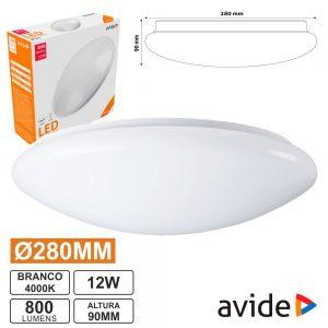 Aplique LED Redondo 12W 280mm 4000k 800lm Cordelia AVIDE - (ACLO28NW-12W)