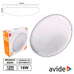 Aplique LED Redondo Teto 18W 330mm 4000K 1200lm AVIDE - (ACLO33NW-18W-S)