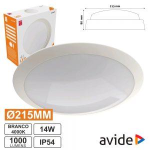 Aplique LED Redondo 14W 215mm 4000k 1000lm IP54 AVIDE - (ABBHL-R-14W-NW)