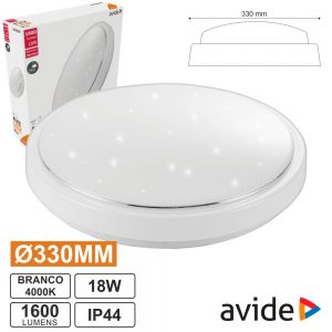 Aplique LED Redondo 18W 330mm 4000k 1600lm Alice AVIDE - (ACLO33NW-18W-AL)