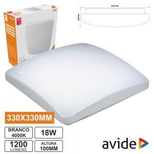 Aplique LED Quadrado 18W 330mm 4000k 1200lm AVIDE - (ACLO33NW-S-18W)