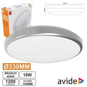 Aplique LED Redondo 18W 330mm 4000k 1600lm Pandora AVIDE - (ACLO33NW-18W-ALU)