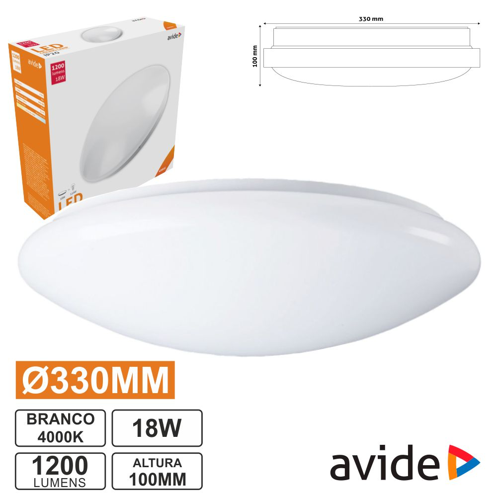 Aplique LED Redondo Teto 18W 330mm 4000K 1600lm AVIDE - (ACLO33NW-18W)