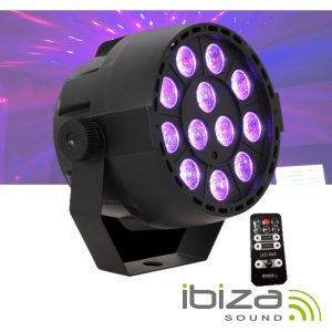 Projetor Luz C/ 12 LEDS 3W RGB Bateria Comando DMX IBIZA - (PARBAT-RGB3)