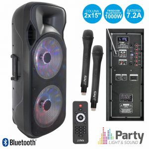 "Coluna Amplificada 2x15"" 1000W USB/FM/BT/SD/Bat Uhf Preta - (PARTY-215LED-MKII)"