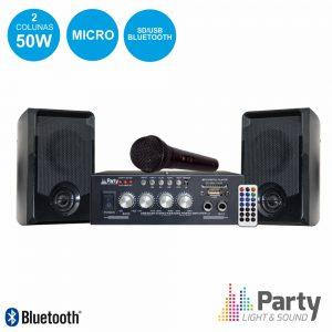 Conjunto Karaoke Amplificador 2x50W 2 Colunas Mic BT PARTY - (PARTY-KA100)