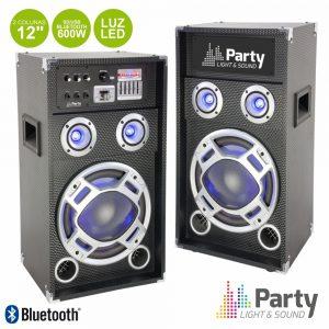 """Conjunto 2 Colunas 12"""" Amplificado SD/USB/BT 600Wmáx - (PARTY-KARAOKE12)"""