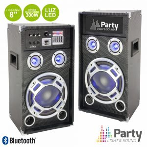 """Conjunto 2 Colunas 8"""" Amplificado SD/USB/BT 300Wmáx - (PARTY-KARAOKE8)"""