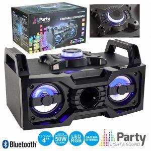"""Sistema Som Portátil 2x4"""" USB/BT/Rec LEDS - (PARTY-SOUNDBOX)"""