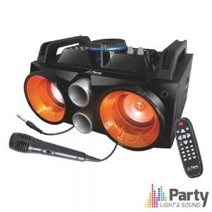 Sistema Som Portátil 200Wmáx USB/BT/FM/Bat LEDS Mic PARTY - (PARTY-SPEAKY200)