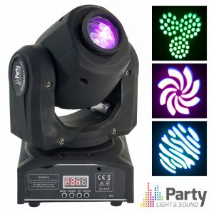 Moving Head Mini 1 LED CREE Branco 10W Gobo DMX Mic PARTY - (PARTY-SPOT7)