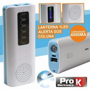 PoWerbank 4000ma C/ Coluna Bluetooth + Lanterna E Sos PROK - (PBAB01)