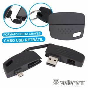Cabo USB-A 2.0 Macho / Micro USB-B Porta Chaves VELLEMAN - (PCMP24)
