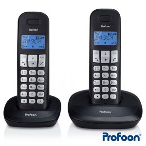 Conjunto 2 Telefones S/ Fios Preto PROFOON - (PDX-1120)