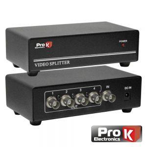 Distribuidor Video Bnc 1 Entrada 4 Saídas PROK - (PK-BNC1E4S)