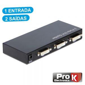 Distribuidor DVI-I Amplificado 1 Entrada 2 Saídas PROK - (PK-DVI1E2S)