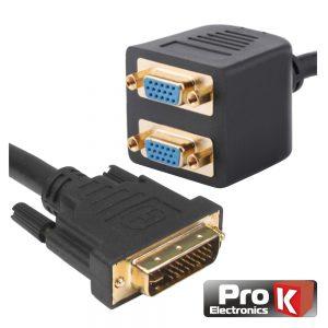 Adaptador 1 Entrada  DVI-I /  2 Saídas VGA  PROK - (PK-DVIVGA)