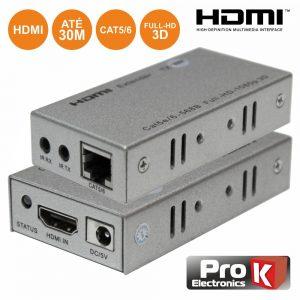Receptor E Transmissor HDMI Via RJ45 CAT5/6 30m PROK - (PK-HDMIRJ45EXTIR01)