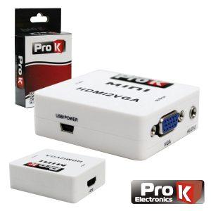 Conversor HDMI -> VGA C/ Áudio Amplificado PROK - (PK-HDMIVGA01)