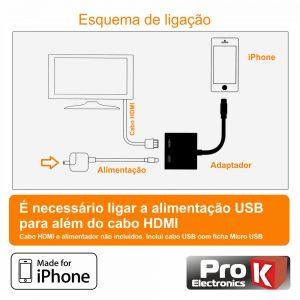 Adaptador Iphone Macho / VGA+HDMI+Jack 3.5mm PROK - (PK-IPHONE103)