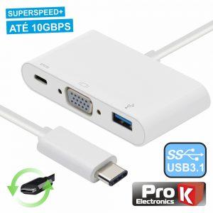 Adaptador USB-C / VGA+ USB-A + Micro USB-C 3.0 PROK - (PK-USB113)