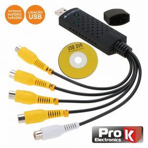 Adaptador USB/Vídeo 4 Entradas Vídeo/1 Áudio PROK - (PK-USBDVR4IN)