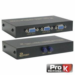 Distribuidor Comutador VGA 2 Entradas 1 Saída PROK - (PK-VGA2E1S-C)