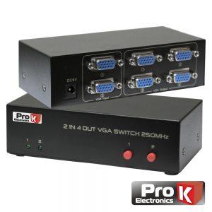 Distribuidor Comutador VGA 2 Entradas 4 Saída PROK - (PK-VGA2E4S-C)
