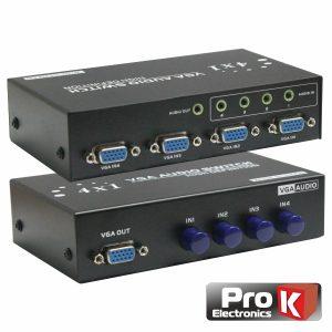 Distribuidor Comutador VGA 4 Entradas 1 Saída C/Audio PROK - (PK-VGA4E1SA-C)