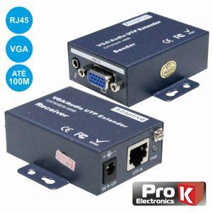 Receptor E Transmissor VGA Via RJ45 CAT5 100m PROK - (PK-VGARJ45EXT01)