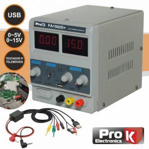 Fonte De Alimentação Digital 0-15v / 0-2a C/USB PROK - (PKFA1502D+)