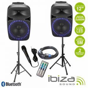 """Conjunto 2 Colunas 12"""" Amplificado FM/SD/USB/BT Suporte/Mic - (PKG12A-SET)"""