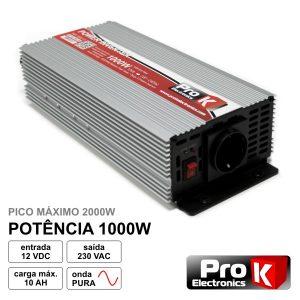 Conversor 12V-230V 1000W Onda Sinusoidal Pura PROK - (PKIP1000-12)