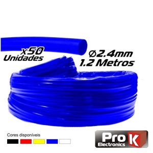 Tubo Manga Termoretráctil 2.4mm 1.2m 50x Azul PROK - (PKMT24B/50)