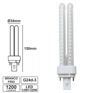 Lâmpada G24 12W=120W 230V LED Branco Frio 1200lm - (PLCL12W)