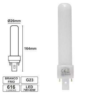 Lâmpada G23 7W=40W 230V LED Branco Frio 616lm - (PLL7CW)