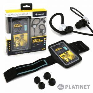 """Braçadeira P/ Smartphone Até 5"""" C/ Auriculares PLATINET - (PM1070B)"""